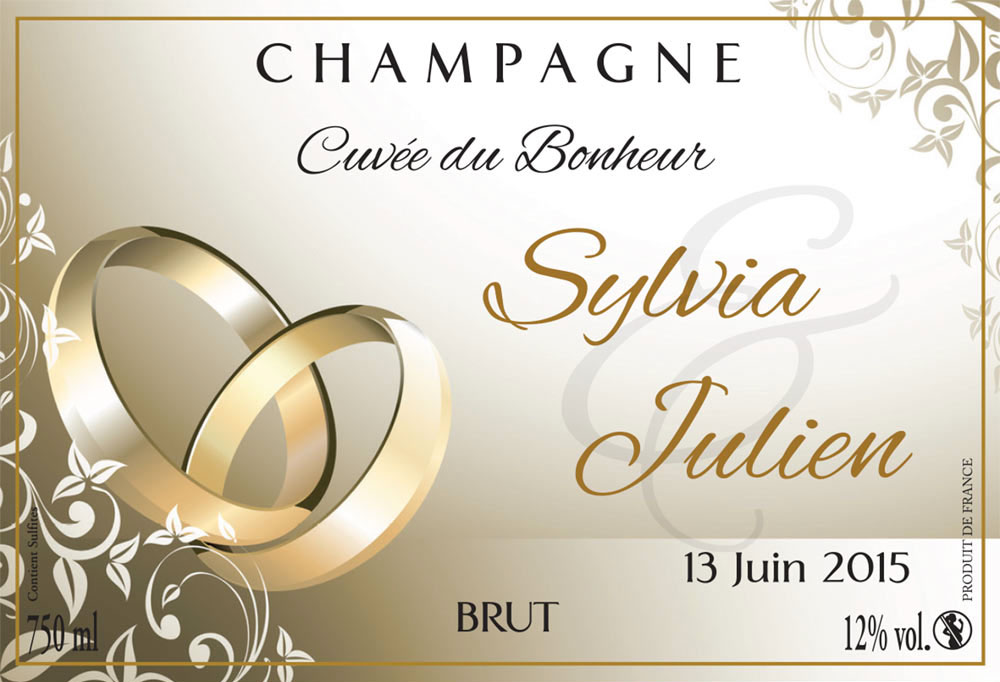 m1 - Tiquette Personnalise Champagne Mariage